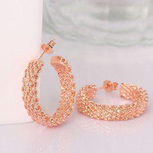Jewelry - 18K Rose Gold Latch Back Hoop Bali Earrings
